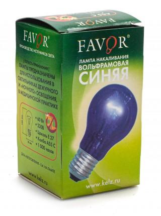 Лампа накаливания вольфрамовая синяя FAVOR (мод. A55 С 230-60 E27)