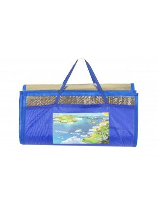 Пляжный коврик - сумочка соломенный 110х170 см с фольгой