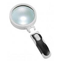 Лупа ручная круглая 16х-37мм для чтения с подсветкой (2 LED) Kromatech 77337В