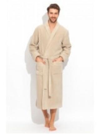 Шикарный махровый халат из микро-коттона BRUTAL(PECHE MONNAIE France 920coffee) - 'Толстый' и плотный!
