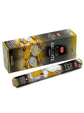 Благовония HEM, шестигранники, Gold & Silver (Золото и Серебро), 20 палочек