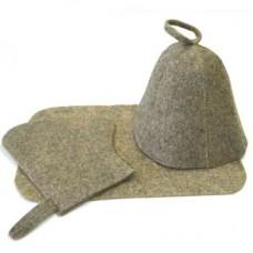 Набор для бани и сауны Эконом 3 предмета, цвет: серый